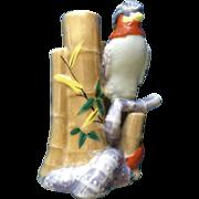 Vintage Lusterware Tropical Bird Next to Bamboo Flower Frog Vase Japan