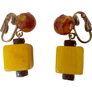 Catalin Bakelite Square & Amber Colored Bead Clip Earrings With Marbling