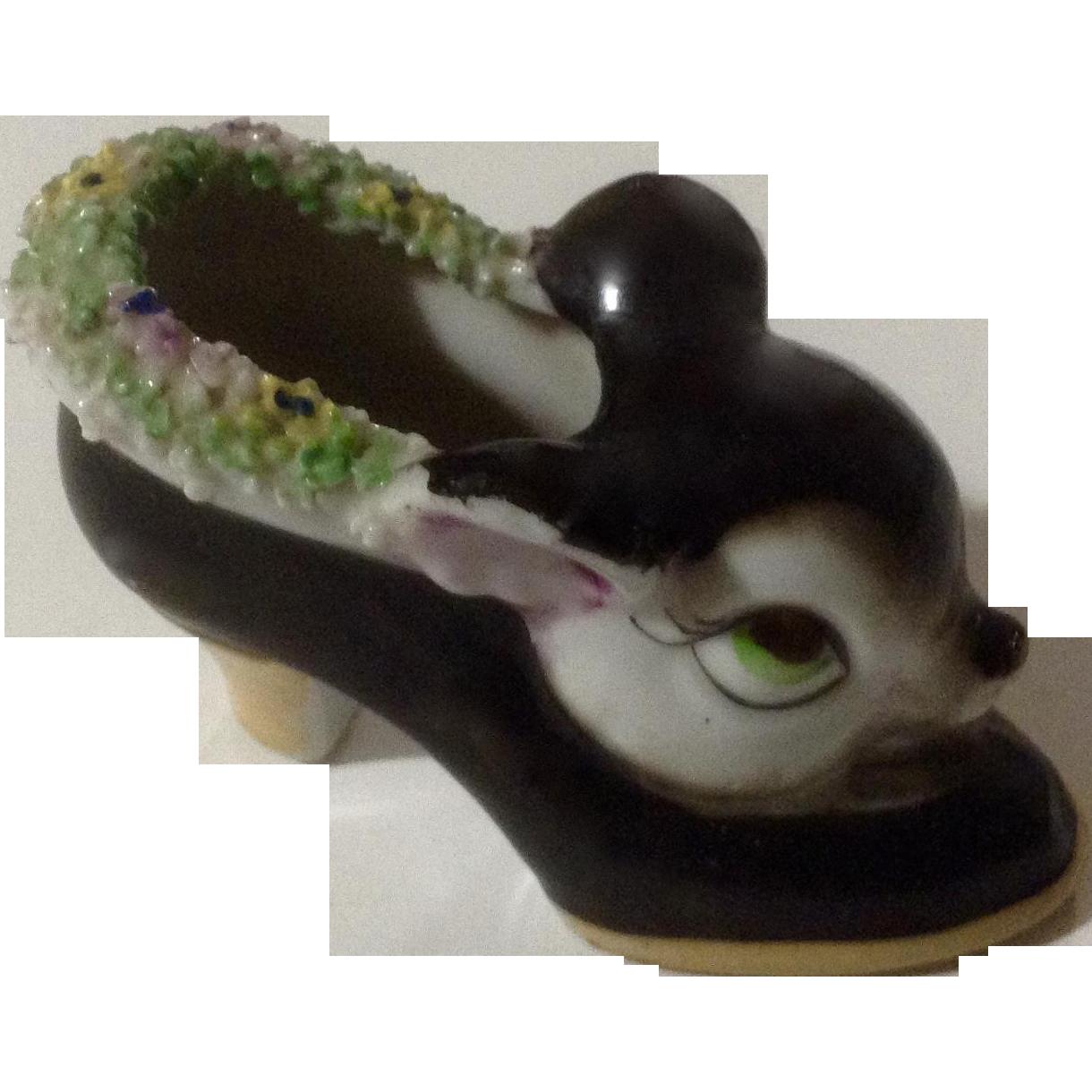 Deer Head Shoe Rare Big Eye Porcelain Ceramic Figurine