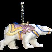 Lenox Carousel Polar Bear Christmas Tree Ornament Retired Porcelain 1989 Missing Tassel