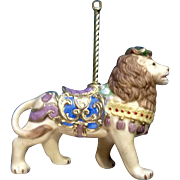 Lenox Carousel Lion King Christmas Tree Ornament Retired Porcelain 1989 Missing Tassel