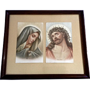 Mater Dolorosa and Ecce Homo Mary and Jesus Icon Chromolithograph Holy Prayer Cards Germany 19th Century