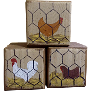 Vintage Folk Art Rooster Chicken Wood Blocks Briar Patch Primitives 1993 Hand Painted One of a Kind Decor