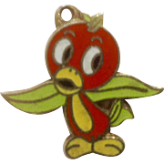 Vintage Rare Florida Orange Bird Walt Disney Productions Charm Enamel Metal Gold Tone Jewelry