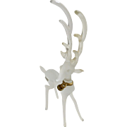 Silvestri Deer Frosted & Clear Glass Reindeer Christmas Holiday Figurine With Jingle Bell