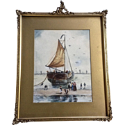 Old Ship Beached at Low Tide Watercolor Painting Works on Paper Monogrammed