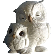Vintage Snowy Owls Fine Bone China Figurine by Freeman for GG George Good