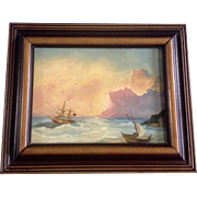 Dutch Seascape Boats at the Shore Oil Painting on Board
