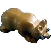 Vintage Hand Carved Wood Bear Animal Figurine Unique with Big Sad Glass Eyes Germany