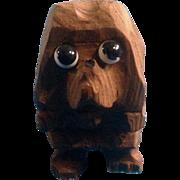 Vintage Hand Carved Wood Puppy Dog Animal Figurine Unique with Big Sad Glass Eyes Germany