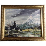 Schneider, Die Zugspitze Mountain Landscape Oil Painting on canvas Signed by Artist