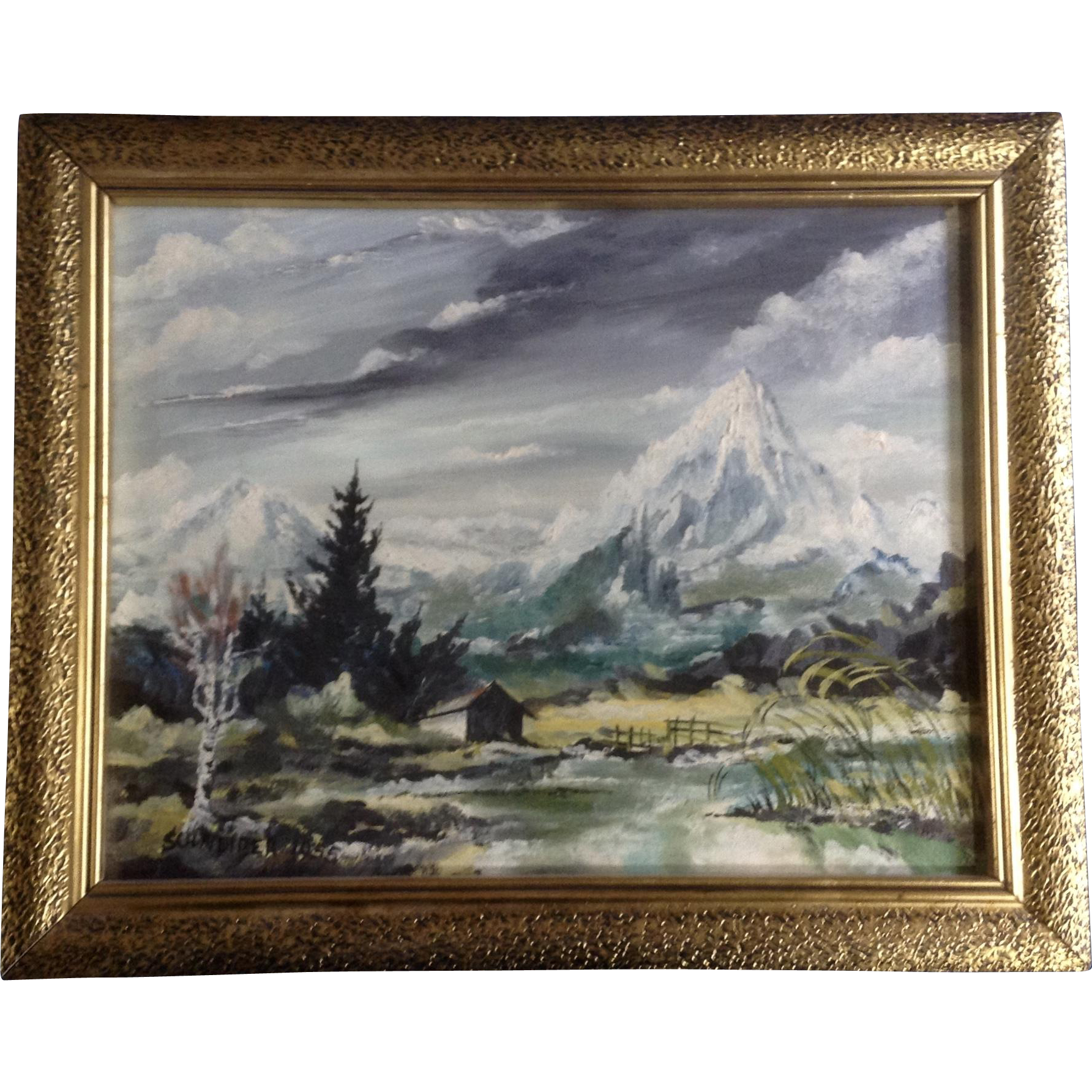 Oil Change Tools >> Schneider, Die Zugspitze Mountain Landscape Oil Painting ...