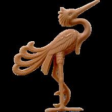 Art Deco Celluloid Pink Egret Crane Bird Standing Figurine