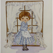 Joanne McGuire Battiste (1932 - 2009)  Little Girl Reading a Book Watercolor Painting Signed By Pueblo Colorado Artist