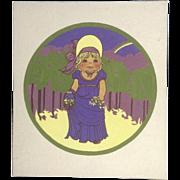 Joanne McGuire Battiste (1932 - 2009)  Little Girl Holding Flowers Watercolor Casein Painting Signed By Pueblo Colorado Artist