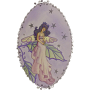 Joanne McGuire Battiste (1932 - 2009) Silver Hair Star Fairy Lady Watercolor Painting By Pueblo Colorado Artist