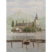 Schloss Ort on Traunsee lake Gmunden, Austria Castle in Center of Lake Watercolor Painting Signed by Artist 1956