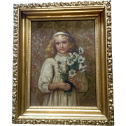 Edith Scannell (1852 – 1940) A Flirt, Portrait Figural of a Young Girl Oil Painting Signed by Artist