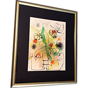 "Joan Miro ""Derriere le Miroir"" Lithograph Color Litho, Original Large Edition  18-50-26 From the Ferdinand Roten Galleries Baltimore MD"