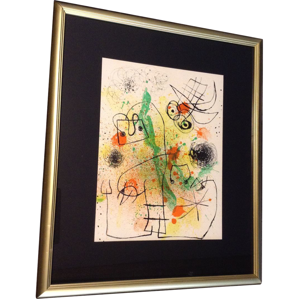 Joan miro derriere le miroir lithograph color litho for Miroir original