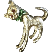 Vintage Cat Bobble Head Gold Tone Pin Brooch Jewelry