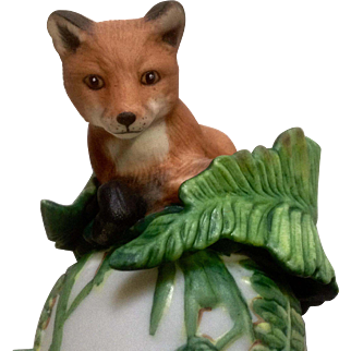 Vintage Franklin Mint, The Baby Red Fox Bell 1983 Peter Barret Animal Porcelain Figurine With Certificate