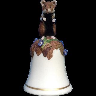 Vintage Franklin Mint, The Baby Hamster Bell 1983 Peter Barret Animal Porcelain Figurine With Certificate