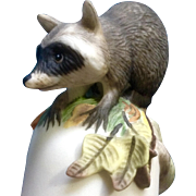 Vintage Franklin Mint, The Baby Raccoon Bell 1983 Peter Barret Animal Porcelain Figurine With Certificate