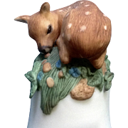 Vintage Franklin Mint, The Baby Deer Bell 1983 Peter Barret Animal  Fawn Porcelain Figurine With Certificate