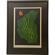 Haku Maki (1924-2000) (Maejima Tadaaki) Abstract Poem 71-36 Woodblock Etching limited Edition Print Signed by Listed Japanese Artist