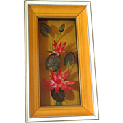 Lotus Flowers Vintage Chinese Shadow Box With Silk 1970's
