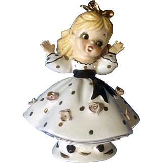 Vintage Little Surprised Girl in Gold Polkadot Dress Consco Marilyn Exclusives 7C49 Mid-Century Figurine