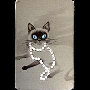 Retro Siamese Cat Playing Cards Full Deck 54pc Mid-Century