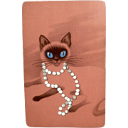 Retro Siamese Pink Cat Trading and Playing Cards Full Deck 54pc Mid-Century