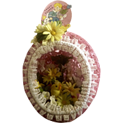 1960's-1970's Large String Easter Egg Basket Decoration with Fuzzy Chicks, Bunny, Plastic Eggs, Silk Flowers and Lace Handmade