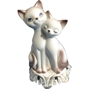 Vintage Mid-Century Atomic Cats Animal Ceramic Lamp Light