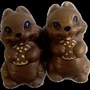 Mid-Century Twin Winton Brown Squirrel Salt & Pepper Shakers Eating Yellow Cookies
