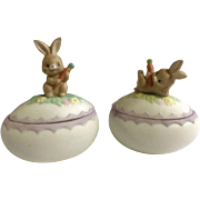 Vintage 1983 Lefton Easter Bunny Rabbit Porcelain Egg Covered Hand Painted Trinket Box #03685 and #03684
