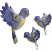 Mid-Century Bluebird Wall Plaque Set Ceramic Birds Made in Japan