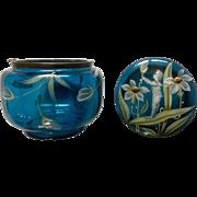 Vintage Mary Gregory Blue Glass Raised Enamel, Trinket, Powder Jewelry Box HINGE BROKEN