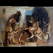 DOZIER, OTIS MARION (1904–1987) 1960 Print Titled, Hopi Snake Dance from the Original Portfolio ll Bluffer Series of Southwestern Art University of Texas Press