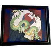 Vintage South Korean Dragon Flag Batik Painting