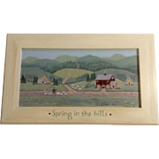 LV Simpson, Folk Art Country Scene Man With Sheep, Spring in the Hills, Acrylic Painting on Canvas Signed by Artist