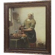 Vintage 1890's-1910's The milkmaid by Johannes Vermeer Old Lithograph Print in Original Frame W. H. Cross Ida Grove, Iowa