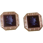 Vintage Cuff Buttons Cufflinks Black Onyx Roman Soldiers Pat Dec, 1880's