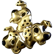 Vintage Disney 101 Dalmatians Gold Tone Pin 3 Dog Jewelry Brooch