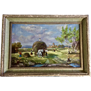 M Farih, European Figural Workers Harvesting Hay in a Field 1957 Oil Painting on Canvas Signed by Artist