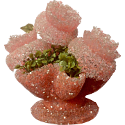 Retro Flower Roses Beaded Yee Fore Melted Popcorn Plastic Pink Floral Arrangement