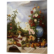 Frank L. Rappa, Still Life With Fruit and Flowers, Oil Painting on Canvas Signed by Colorado Artist