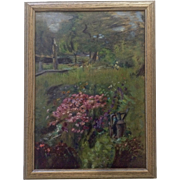 Beautiful Flower Garden with Watering Can Oil Painting on Board